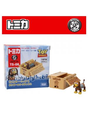 Dream Tomica Diecast Model Car - Ride On Toy Story TS-08 Slinky Dog & Cardboard Toy Box