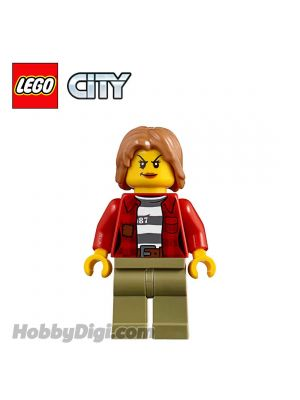 LEGO Loose Minifigure City: Crook Female with Jacket over 87 Prison Stripes