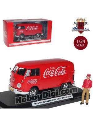 Motor City Classics Coca-Cola 1:24 Diecast Model Car - 1963 Volkswagen T1 Cargo Van with Driver, Cart, and Case