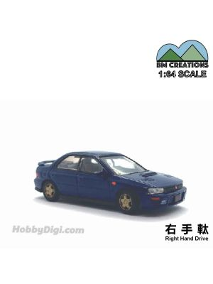 BM Creations 1:64 Diecast Model Car - Subaru 1994 Impreza WRX Blue (Right Hand Drive)
