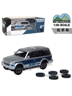 BM Creations 1:64 Exhibition Limited Diecast Model Car - Muitsubishi 2nd Gen. Pajero Blue Stripe + Print (Right Hand Drive)