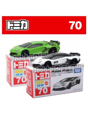 [2019 Sticker] Tomica Diecast Model Car No70 - Lamborghini Aventador SVJ Set of 2
