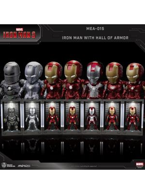 Beast Kingdom Marvel Mini Egg Attack Action MEA-015 - Iron Man 3 Iron Man Mark I - VII with Hall of Armor Set