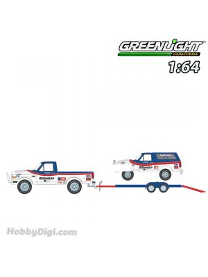 Greenlight 1:64 Diecast Model Car - Racing Hitch & Tow Series 3 - 1992 Ford F-150 and 1992 Ford Bronco BFGoodrich Rough Riders on Flatbed Trailer Solid Pack