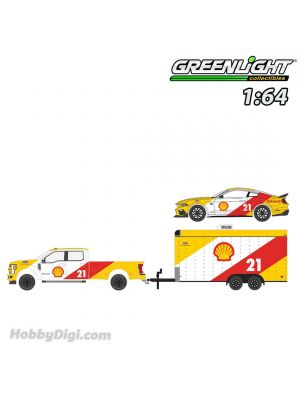 Greenlight 1:64 合金車 - Racing Hitch & Tow Series 3 - 2019 Ford F-350 Lariat and 2021 Ford Mustang Mach 1 Shell Oil #21 with Enclosed Shell Oil Car Hauler Solid Pack