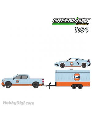 Greenlight 1:64 Diecast Model Car - Racing Hitch & Tow Series 3 - 2021 Chevrolet Silverado and 2021 Chevrolet Corvette C8 Stingray Gulf Oil with Enclosed Gulf Oil Car Hauler Solid Pack