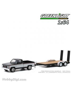 Greenlight 1:64 合金車 - Hitch & Tow Series 20 - 1986 GMC Sierra Classic 2500 with Flatbed Trailer Solid Pack