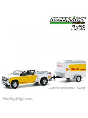 Greenlight 1:64 合金車 - Hitch & Tow Series 20 - 2019 Chevrolet Silverado Shell Oil and Small Shell Oil Cargo Trailer Solid Pack