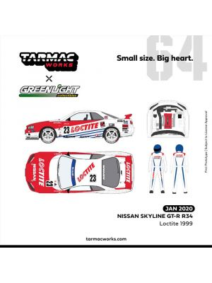 Tarmac Works x Greenlight 1:64 合金模型車 - Nissan Skyline GT-R R34 Loctite 1999 with Re-sealable clamshell & Racing Driver figure