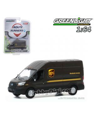 Greenlight 1:64 Diecast Model Car - Route Runners Series 1 - 2019 Ford Transit LWB High Roof - United Parcel Service (UPS) Worldwide Services Solid Pack