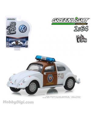 Greenlight 1:64 Diecast Model Car - Classic Volkswagen Beetle Chiapas Mexico Traffic Police (Club Vee-Dub S9)