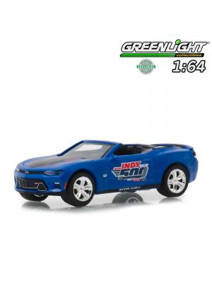 Greenlight 1:64 Diecast Model Car - Hobby Exclusive 2018 Chevrolet Camaro Convertible 102nd Indy 500 Presented by PennGrade Motor Oil 500 Festival Event Car