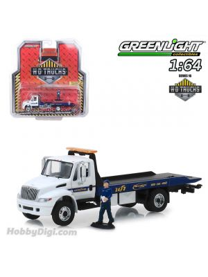 Greenlight 1:64 Diecast Model Car - 2013 International Durastar Flatbed Goodyear Roadside Service with Serviceman Figure (H.D. Trucks Series 16)