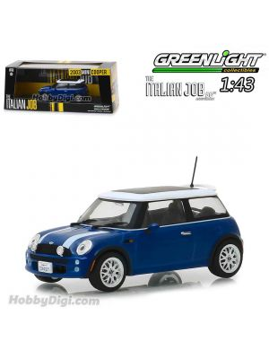 Greenlight 1:43 Diecast Model Car - The Italian Job (2003) - 2003 Mini Cooper - Blue with White Stripes