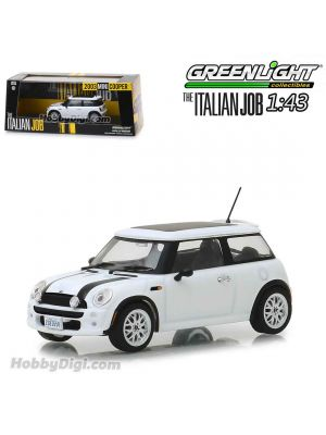 Greenlight 1:43 Diecast Model Car - The Italian Job (2003) - 2003 Mini Cooper - White with Black Stripes