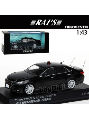 HIKO7 RAI'S 1:43 Diecast Model Car - Toyota Crown Athlete Police Headquarters Security Department Key Guard Vehicle