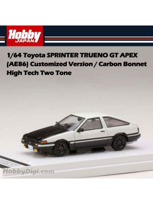 Hobby JAPAN Diecast Model Car - 1/64 Toyota SPRINTER TRUENO GT APEX (AE86) Customized Version / Carbon Bonnet High Tech Two Tone