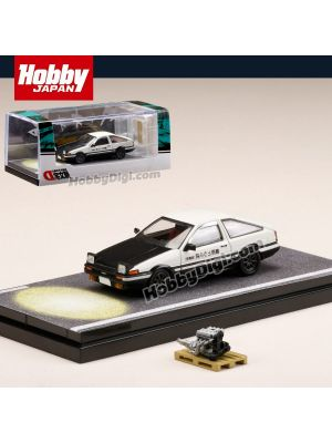 Hobby JAPAN Diecast Model Car - 1:64 Toyota SPRINTER TRUENO GT APEX (AE86) InitialD PROJECT D OPEN HEADLIGHTS / WITH 4A-GE 5 VALVE   DISPLAY MODEL