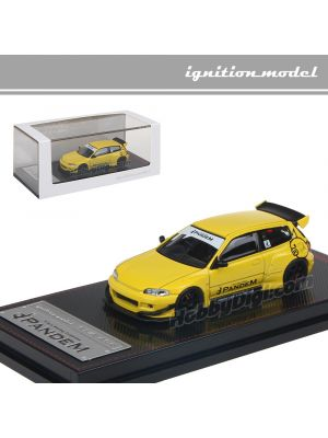 Tarmac Works x Ignition Model 1:64 限量版合金模型車 - PANDEM CIVIC (EG6) Yellow