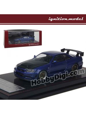 Ignition Model 1:64 Diecast Model Car -  Nismo R34 GT-R Z-tune Blue Metallic