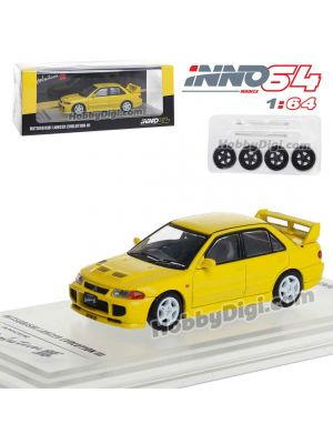 INNO64 1:64 合金模型車 - MITSUBISHI LANCER EVOLUTION III 1995 Yellow - Whith Separate bonnet carbon decals and Extra wheels