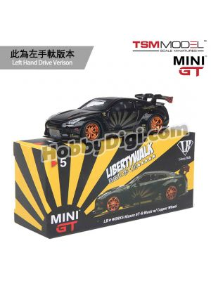 TSM 1:64 Mini GT Diecast Model Car - LB WORKS Nissan GT-R R35 Type 1, Rear Wing Ver 1+2 Black w/ Copper Wheel (LHD)