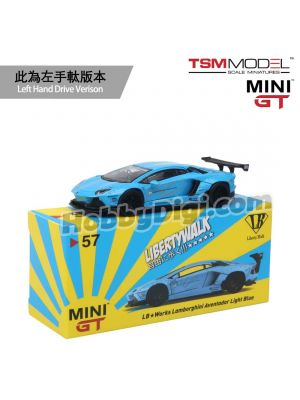 TSM 1:64 Mini GT 合金車 - LB★WORKS Lamborghini Aventador Light Blue (左手軚)