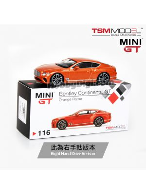 TSM 1:64 Mini GT Diecast Model Car - Bentley Continental GT Orange Flame (RHD)