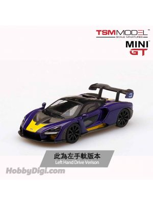 TSM 1:64 Mini GT Diecast Model Car - McLaren Senna Purple/Yellow (LHD)