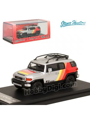 Stance Hunters SH 1:64 Diecast Model Car - Toyota FJ Cruiser XJ10 Southeast Asia Market Special Edition TRD Special Edition Silver (LHD)