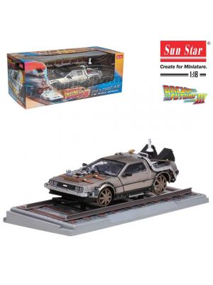 Sun Star 1:18 Diecast Model Car - Back to the Future Part III DeLorean Time Machine Railroad Verison