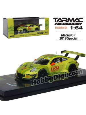 Tarmac Works 1:64 Limited Diecast Model Car - Macau GP 2019 Porsche 911 GT3 R (991) Macau GT Cup - FIA GT World Cup 2018 #911 Laurens Vanthoor