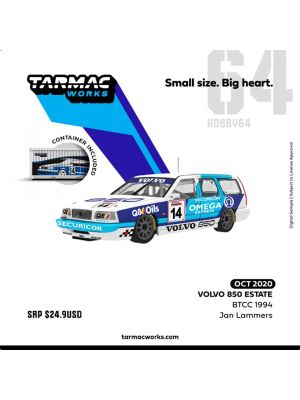 Tarmac Works HOBBY64 1:64 合金模型車 - Volvo 850 Estate BTCC 1994 Jan Lammers (With Container)