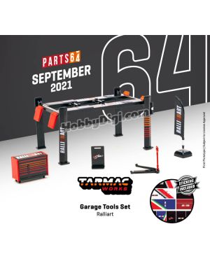 Tarmac Works PARTS64 1:64 Diecast Model Car Parts - Garage Tools Set Ralliart (with stickers)