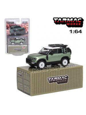 Tarmac Works GLOBAL64 1:64 Special Edition Model Car - Land Rover Defender 90 Green Metallic