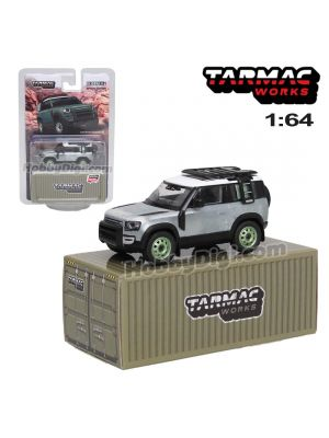Tarmac Works GLOBAL64 1:64 Limited Special Edition Model Car - Land Rover Defender 90 (ZAMAC Ver)