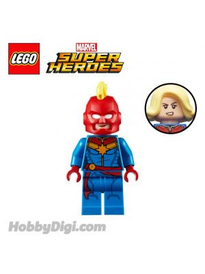 LEGO Loose Minifigure Marvel : Captain Marvel with Helmet and Bright Light Yellow Hair