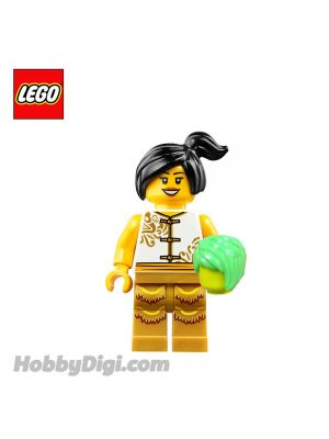 LEGO Loose Minifigure Seasonal : Woman Lion Dancer with White Gold Costume and Cabbage