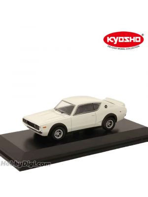 KYOSHO 1:64 Diecast Model Car - Nissan SKYLINE 2000GT-R (KPGC110) White with Base and Display Cover